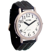 Ultima Low Vision Watch - White Dial - Leather Band