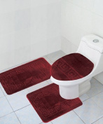 3 Piece Bath Rug Set Pattern Bathroom Rug (50cm x 80cm )/large Contour Mat (50cm x 50cm ) with Lid Cover