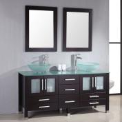 "160cm Espresso Wood & Glass Double Sink Bathroom Vanity Set- ""Oregon"""