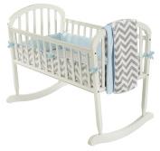 Baby Doll Bedding Minky Chevron Cradle Bedding Set, Blue