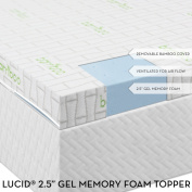 6.4cm Lucid® by LinenSpa Gel Infused Ventilated Memory Foam Mattress Topper with Removable Bamboo Cover 3-Year Warranty
