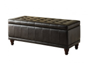 Homelegance 4730PU Lift Top Storage Bench with Tufted Accents, Dark Brown Faux Leather