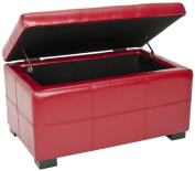 Safavieh Hudson Collection Williamsburg Red Leather Small Storage Bench