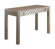 OSP Designs Helena Driftwood Style Vintage Ogee Inlay Distressed Mirrored Desk