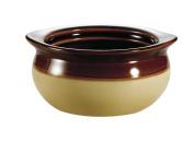 CAC China OC-10-C 300ml Stoneware Round Onion Soup Crock, 12cm by 5.7cm , Cream/Brown, Box of 24