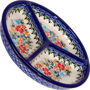 Polish Pottery Ceramika Boleslawiec, 0727/238, Mercedes Divided Platter, 27cm in Diameter, Royal Blue Patterns with Red Cornflower and Blue Butterflies Motif