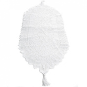 kilofly Heritage Floral Lace Table Runner with Tassels, 90cm x 33cm , White