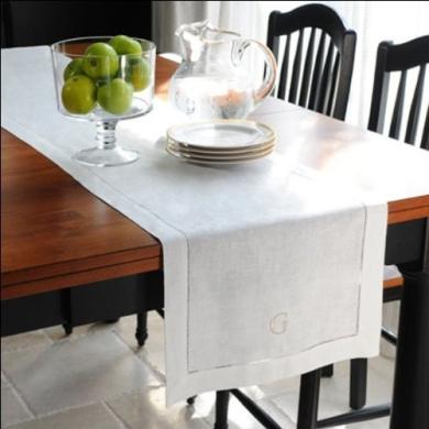 Loom State Pure Linen Hemstitch Table Runner White 36cm x 270cm