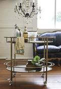 Metal 2 Tier Bar Cart Gold Finish On Casters Country Home Décor