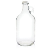 True Fabrications 1.9l Clear Glass Beer Growler - Reusable - With Poly Seal Cap - 1890ml