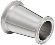 Dixon B3114MP-G200150 Stainless Steel 304 Sanitary Fitting, Clamp Concentric Red Fiberglassucer, 5.1cm Tube OD x 2.5cm - 1.3cm Tube OD