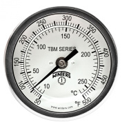 Winters TBM Series Stainless Steel 304 Dual Scale Bi-Metal Thermometer, 15cm Stem, 1.3cm NPT Fixed Centre Back Mount Connexion, 7.6cm Dial, 50-500 F/C Range