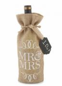 Mud Pie Mr. and Mrs. Burlap Wine Bag