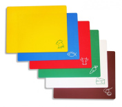 New Star Foodservice 42627 Flexible Cutting Board, 30cm by 38cm , Assorted Colours, Set of 6