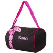 Girls Dance Duffle Bag Kids Quilted Ribbon Polka Dots Black Totes Bag