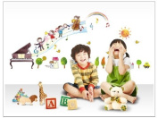 Good Life Children Playing Music with Piano Trees Houses Sun and Car DIY Wall Decal for Nursery Room Decor