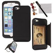 xhorizon TM Hard/Soft Heavy Duty Hybrid Credit Card Wallet Case Cover for iPhone 5 5s Black