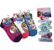 Disney Frozen Combo Pack! Elsa, Anna, Olaf Girls Dress up Socks (3 Pairs) + 4pc Frozen Hair Pony Band Elastic Barret