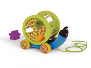 Oops 2-in-1 Little Helper Pull and Push Along Wooden Activity Toy and Shape Sorter in Mr. Mushee Snail Design