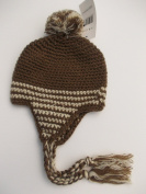 BNWT babiy boys winter hand knitted bobble hat in brown or blue 3-6 6-12 m