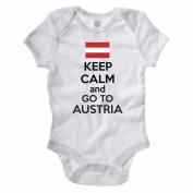 KEEP CALM AND GO TO AUSTRIA - Austrian / Europe / European Themed Baby Grow / Suit