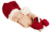 Jastore Photography Prop Baby Red-and-white Santa Claus Costume Crochet Knitted Hat Shoes