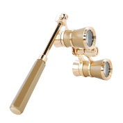 HQRP Opera Glasses Yellow / Golden Colour with Gold Trim w/ Built-In Extendable Handle plus HQRP UV Metre