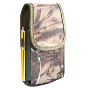 Kuteck® Tree Army Camouflage Green Nylon Rugged Heavy Duty Belt Holster Pouch Clip Metal Fits For Samsung Galaxy S5 S4 S3 Otterbox / Lifeproof / Mophie Juice Pack Air/Plus Case On. Includes A Gold Stylus Pen