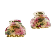 Mytoptrendz Pack Of 2 Floral Print Small Size Acrylic Hair Claws