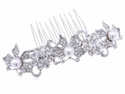 Silvertone Genuine Rhinestone Encrusted Faux Pearl Butterfly Fashion Hair Comb