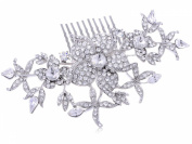 Silvertone Genuine Rhinestone Encrusted Flowers and Buds Fashion Hair Comb