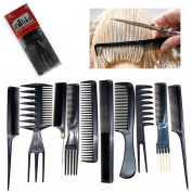 Professional Hair Styling Comb Kit Salon Hair Cutting Colouring Hair Dye Set Dresser Black Plastic Kit - 10