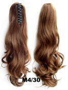 Queen Wig Long wave Hairpiece Jaw Clip in on Extension Ponytail Hair Piece - #4/30 chocolate brown/Medium auburn
