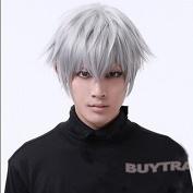 leading-star Tokyo Ghouls Ken Kaneki Cosplay Wig Mens Short Halloween Party Wigs
