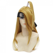 Qiyun Men's Unisex Yellow Brown Straight Pigtail Costume Cosplay Full Wig