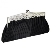 Ruched Satin Clutch Bag With Crystal Decoration Along The Top Wedding Bridal Evening Party Prom Bags Handbag