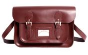 38cm Wine Red Real Leather Oxbridge Satchel IN-NEW RL15 WINE RED - Fashion Retro School Bag - Boxed