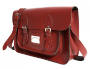 38cm Red Real Leather Oxbridge Satchel IN-NEW RL15 RED - Fashion Retro School Bag - Boxed