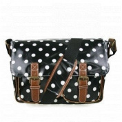 Black & White Polka Dot Spot Oilcloth Ladies Satchel Fashion Handbag With Hanging Heart Gift