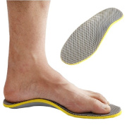 Footful 1 Pair of Silver Gridding Arch Support Insoles with Cutting Size Line for Flat Feet Weak Arches---UK Men's 6.5-11.5