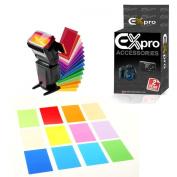 Ex-Pro 12 Colour Camera Universal Speedlite Flash gun Gel slides with hook and loop holder