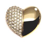 2GB Diamond Heart - Gold - Novelty USB Flash Drive/Memory Stick/Pen/Gift/Present/Stocking