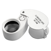 Outdoortips 40X 25mm Jewellers Lens Magnifying Eye Glass Magnifier With LED Light