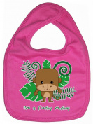Dirty Fingers, I'm a Funky Monkey, Baby Cute Feeding Bib, Hot Pink