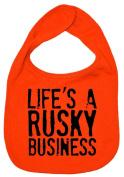Dirty Fingers, Life's a Rusky Business, Boy Girl Feeding Bib, Orange