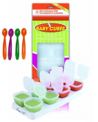 Happy Mummy 1 PACK Of Baby Cubes Food Cube Portioners Storage Pots 70ml (Stage 2) & 4 PACK Of Feeding Spoons