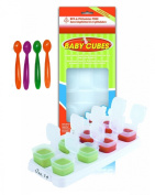 Happy Mummy 1 PACK Of Baby Cubes Food Cube Portioners Storage Pots 40ml (Stage 1) & 4 PACK Of Feeding Spoons
