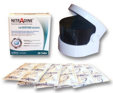 Nitradine Denture Seniors Tablets & Sonic Cleaner - 20 Tablets for Cleaning & Disinfecting 10 weeks supply (Batteries NOT Included)