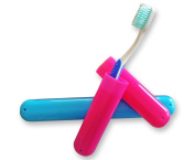 2 x Toothbrush Case Travel Cover ~ 1 Pink & 1 Blue
