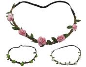 BONAMART ® 3 x Boho Hippie Flower Elastic Headband Festival Braided Chain HairBand for Women Girls